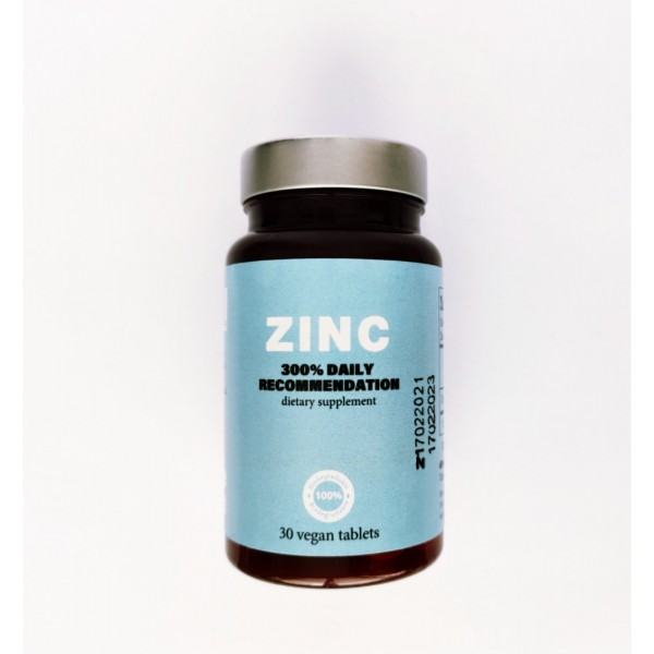 Zinc Vegan Supplement for Daily Immune Support - 30 mg 30 tablets